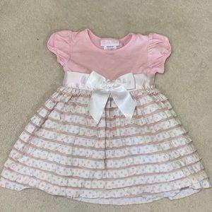 Bonnie Baby Ruffle Dress Pink & White 12 Months